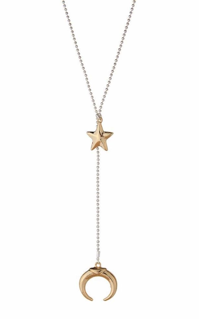 Olia Jewellery Shannon Star And Moon Long Necklace In Colour Silver And Gold by Olia Jewellery