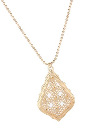 Olia Jewellery Rayne Long Necklace In Color Gold by Olia Jewellery
