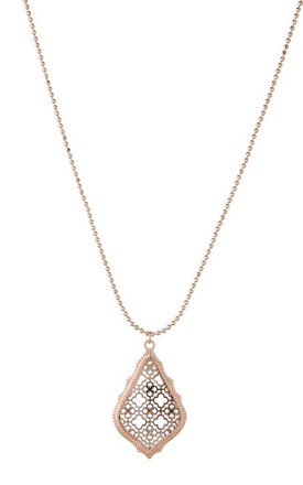 Olia Jewellery Rayne Long Necklace In Color Rose Gold by Olia Jewellery