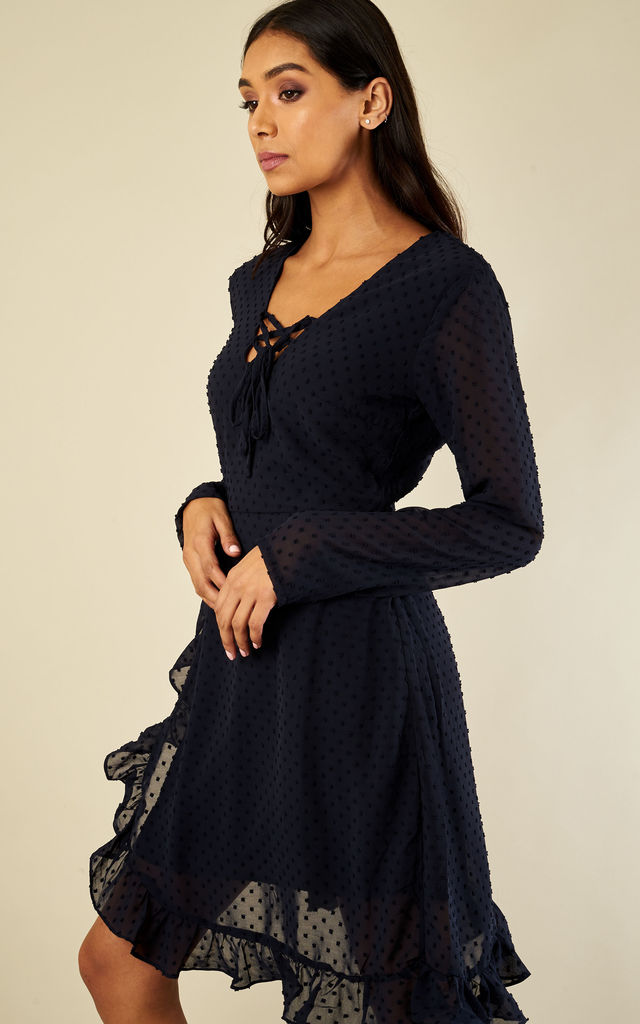 Navy tie neck frill wrap dress by Luna