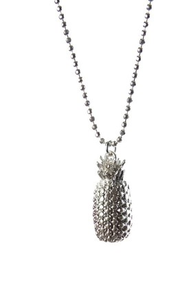 Olia Jewellery Robyn Long Pineapple Necklace In Color Silver by Olia Jewellery