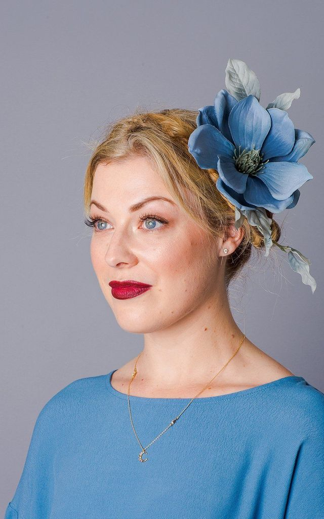 Aurelia Oversized Magnolia Corsage - Dusky Blue by Crown and Glory