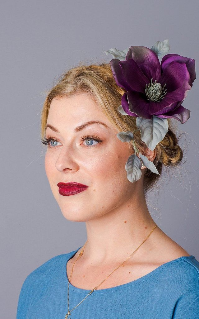 Aurelia Oversized Magnolia Corsage - Aubergine Purple by Crown and Glory