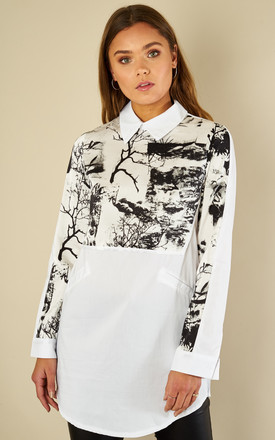 Print Shirt Dress With Collar by Oeuvre Product photo
