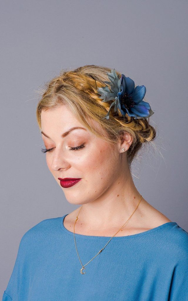 Aubrey Anemone Clip - Dusky Blue by Crown and Glory