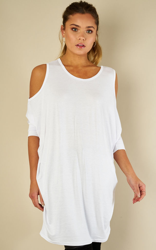 White Cold Shoulder Jersey Batwing Top by Bella and Blue