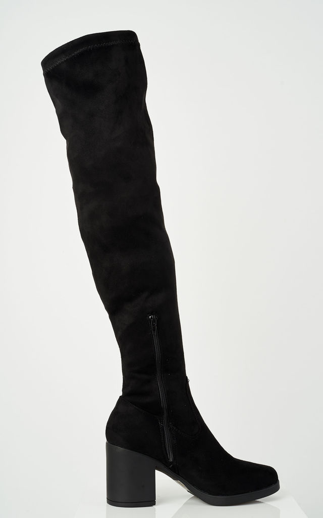 Black faux suede over the knee boots by Truffle Collection