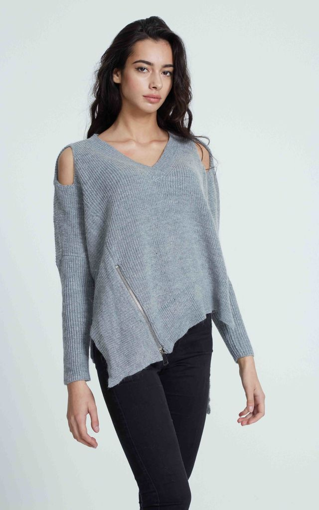 COLD SHOULDER V NECK OFF GREY JUMPER by Liquorish