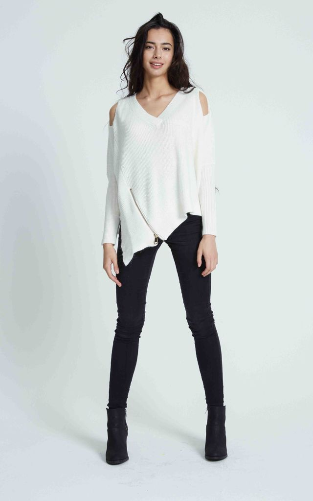 COLD SHOULDER V NECK OFF WHITE JUMPER by Liquorish