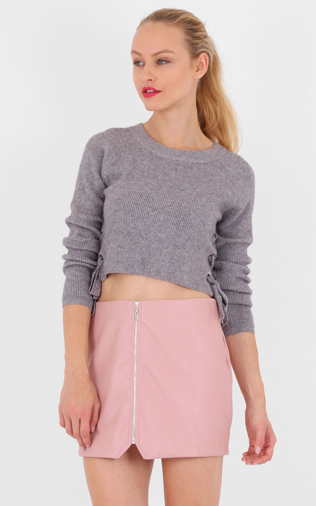 Pink High Waist Zip Front Asymmetric Mini Skirt by MISSTRUTH