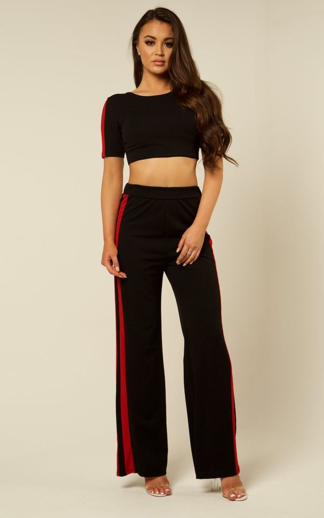 Co-ord Stripe Tracksuit - Black & Red by AJ | VOYAGE