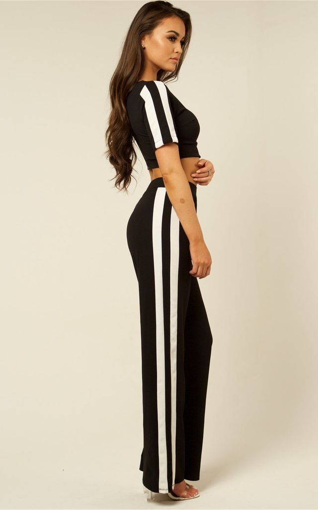Co-ord Stripe Tracksuit - Black & White by AJ | VOYAGE