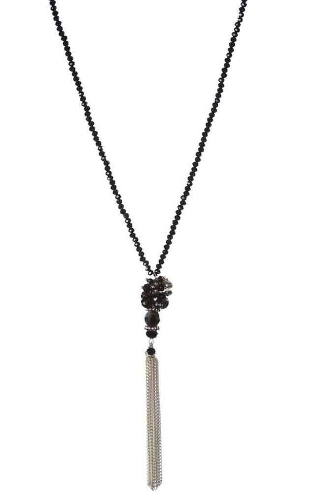 Olia Jewellery Long Necklace In Colour Navy by Olia Jewellery