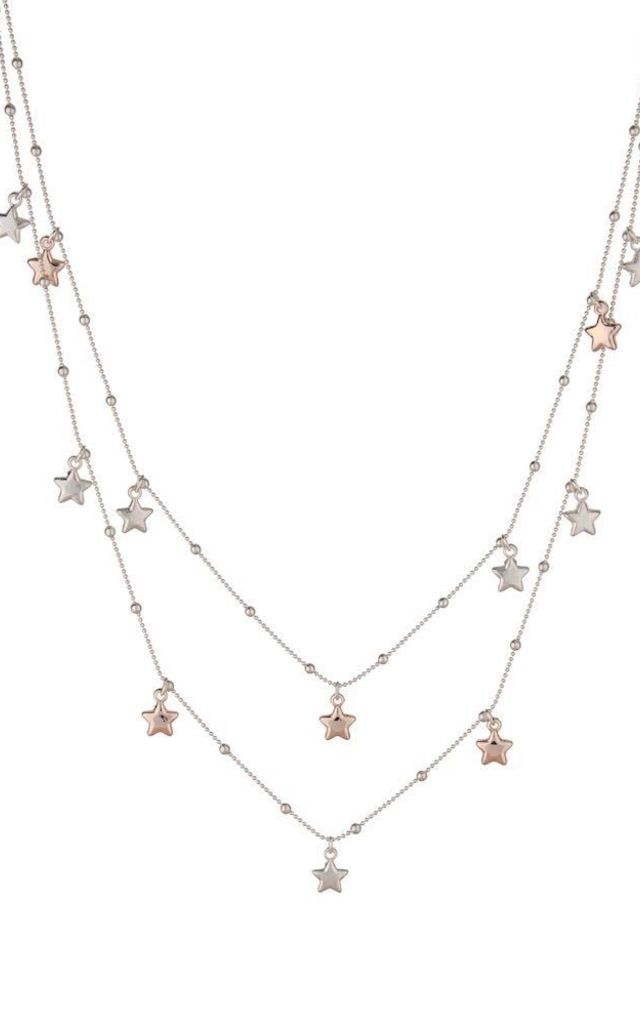 Olia Jewellery Long Star Necklace in Silver and Rose Gold by Olia Jewellery