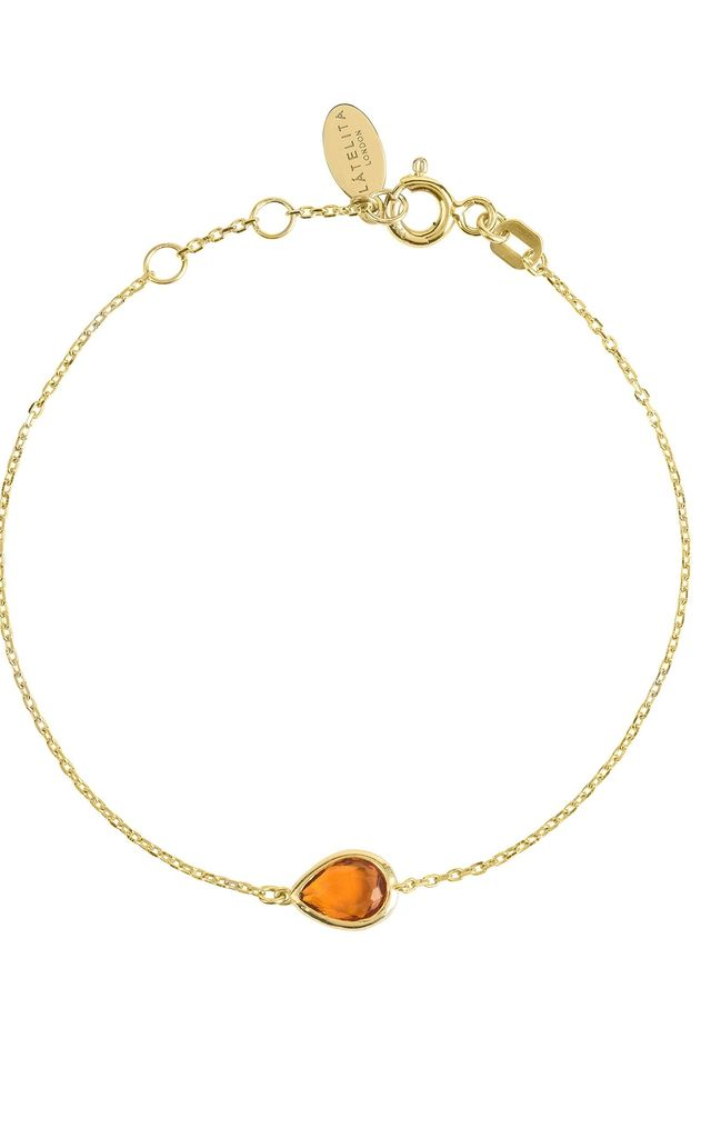 Pisa Mini Teardrop Bracelet Gold Citrine by Latelita