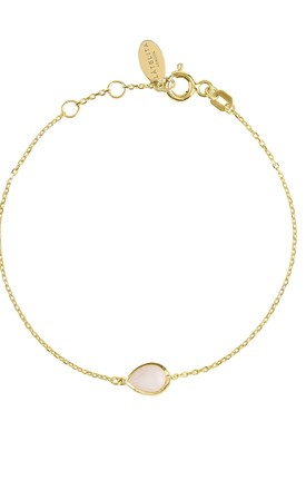 Pisa Gold Bracelet With Mini Teardrop Rose Quartz by Latelita Product photo