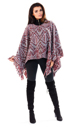 Claret Patterned Poncho With Frills by AWAMA