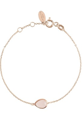 Pisa Rose Gold Bracelet With Mini Rose Quartz Teardrop by Latelita Product photo