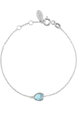 Pisa Mini Teardrop Bracelet Silver Blue Topaz by Latelita London