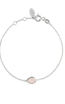 Pisa Silver Bracelet With  Mini Teardrop Rose Quartz by Latelita Product photo