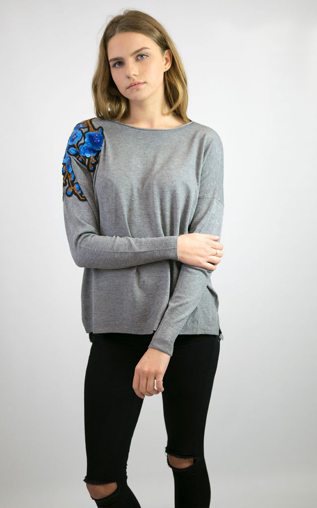 ELLIE SOFT KNIT JUMPER TOP WITH FLORAL EMBROIDERED PATCH ON SHOULDER GREY by Lucy Sparks