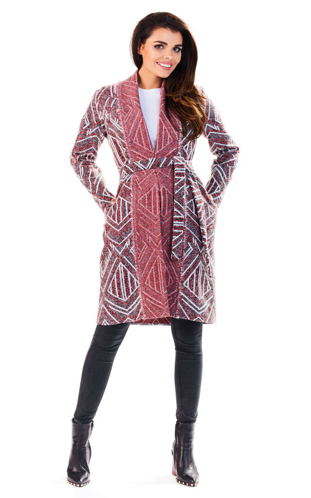 Long Cardigan with Belt in Claret by AWAMA