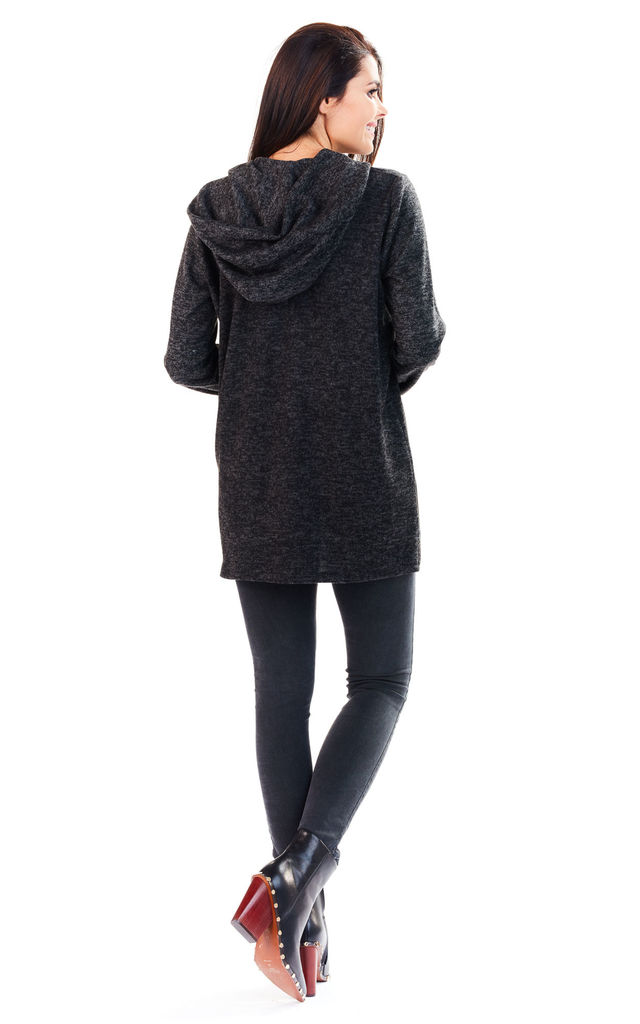Graphite Long Back Hoodie With Pockets by AWAMA
