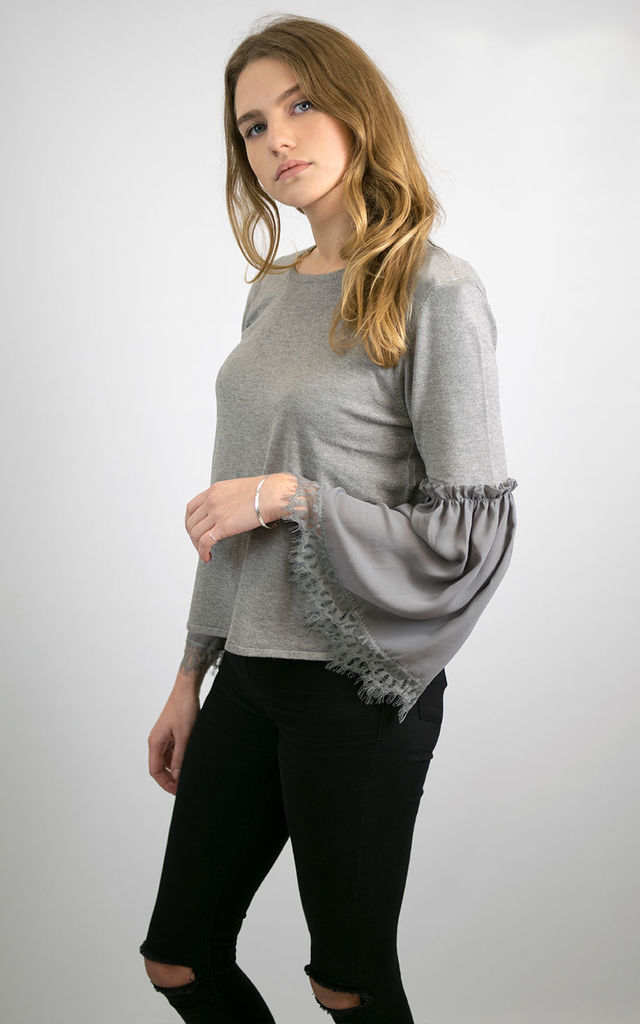 ELIZABETH SOFT KNIT JUMPER TOP WITH CHIFFON FLARED FORE SLEEVES  GREY by Lucy Sparks