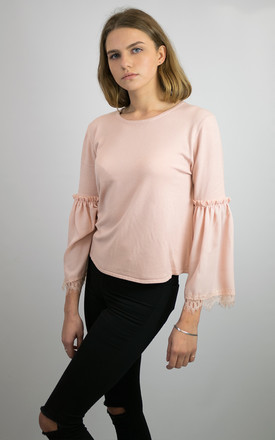 ELIZABETH SOFT KNIT JUMPER TOP WITH CHIFFON FLARED FORE SLEEVES  PINK by Lucy Sparks