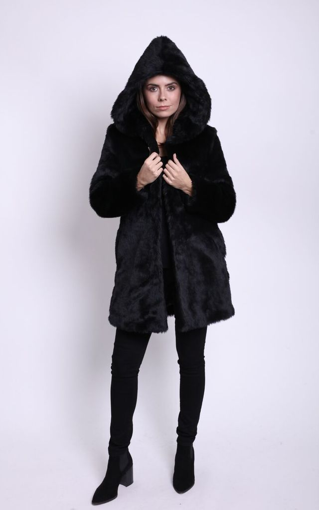 955ad659930a3 Chatel Faux Mink Hooded Coat by Faux England