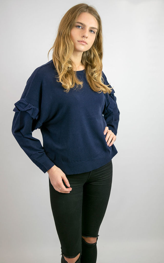 LUCY LOOSE FIT SOFT KNIT JUMPER TOP WITH FRILLS ON SLEEVE SEAMS NAVY BLUE by Lucy Sparks