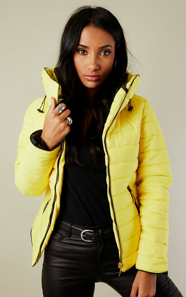 Alanah Puffer Jacket in Yellow by Marc Angelo