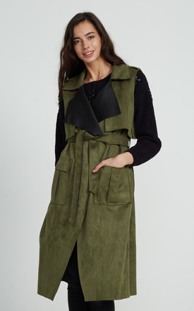 Sleeveless Olive Green Suedette Trench Coat by Liquorish