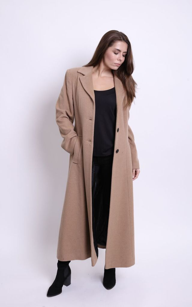 Tyler Long Camel Wool Cashmere Coat by Faux England