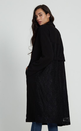 Liquorish Black Duster Jacket With Lace Back by Liquorish