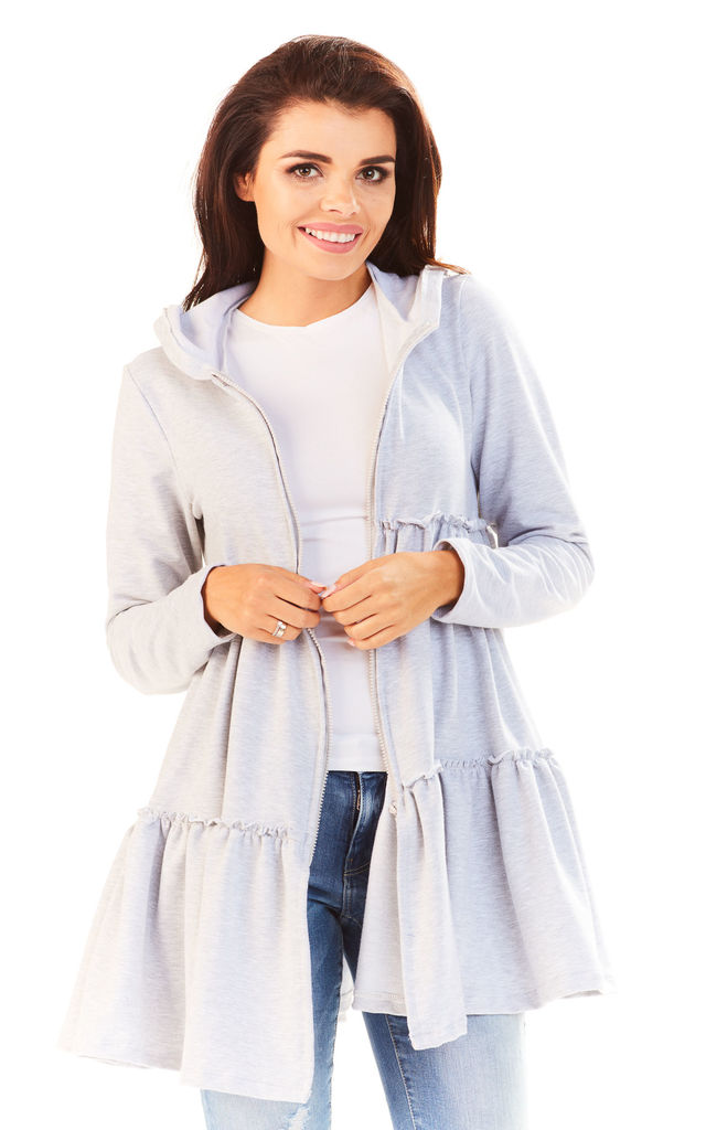 Grey Frill Cardigan With Zipper by AWAMA