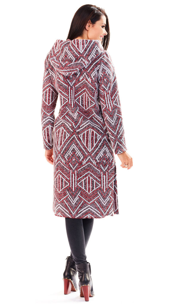 Claret Long Coat with Hood by AWAMA