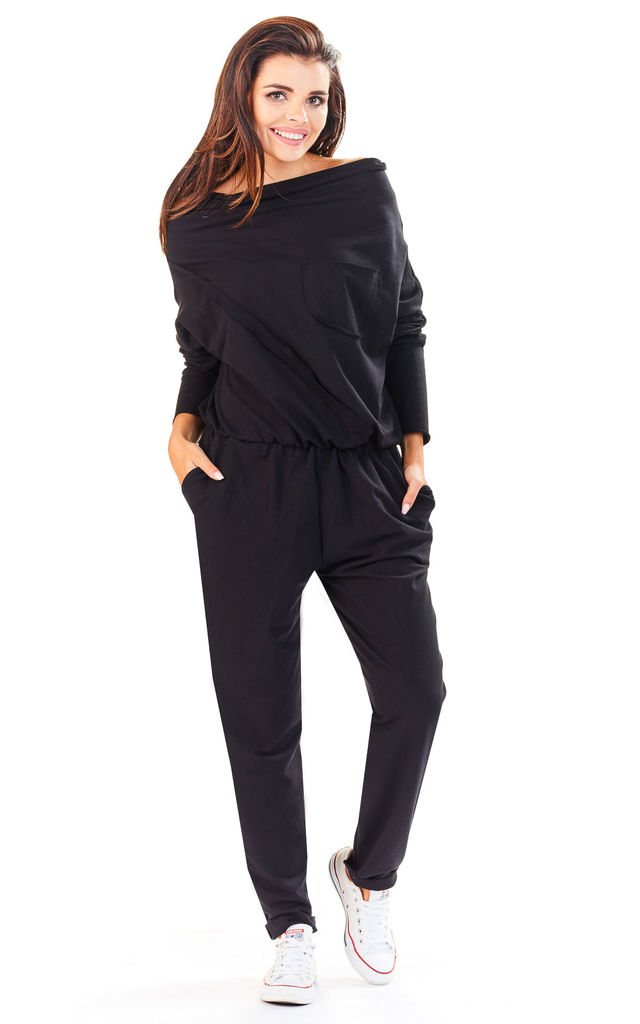 Black Off The Shoulder Jumpsuit by AWAMA