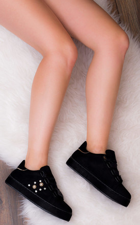 SPYFIRE Lace Up Flat Trainers Shoes - Black Suede Style by SpyLoveBuy