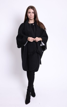Viviana Fully Reversible Black/Opal Cape by Faux England
