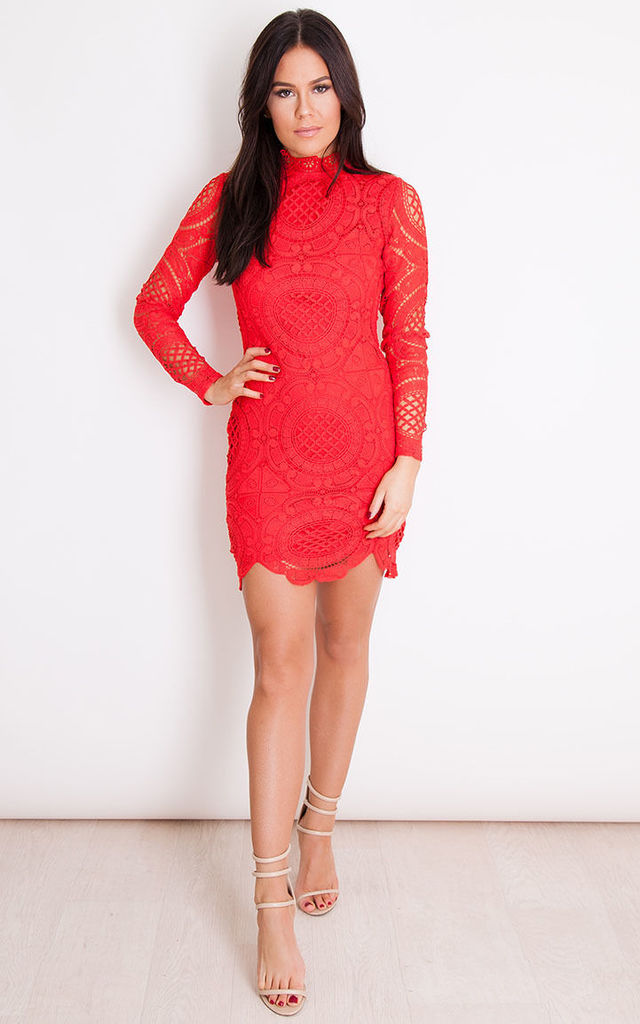 169cc2d6799 Lilah Lace High Neck Long Sleeve Mini Dress Red by Girl In Mind