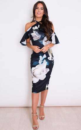 Holly Floral Halterneck Frill Cold Shoulder Midi Dress Black by Girl In Mind Product photo