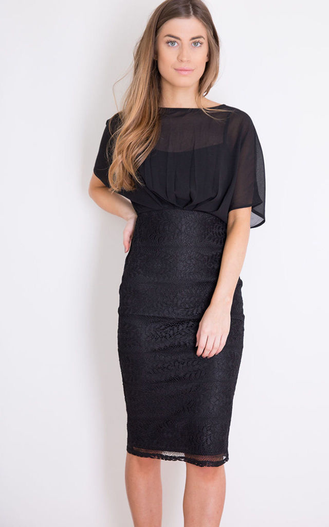 Felicity Short Sleeve Lace Midi Dress Black by Girl In Mind