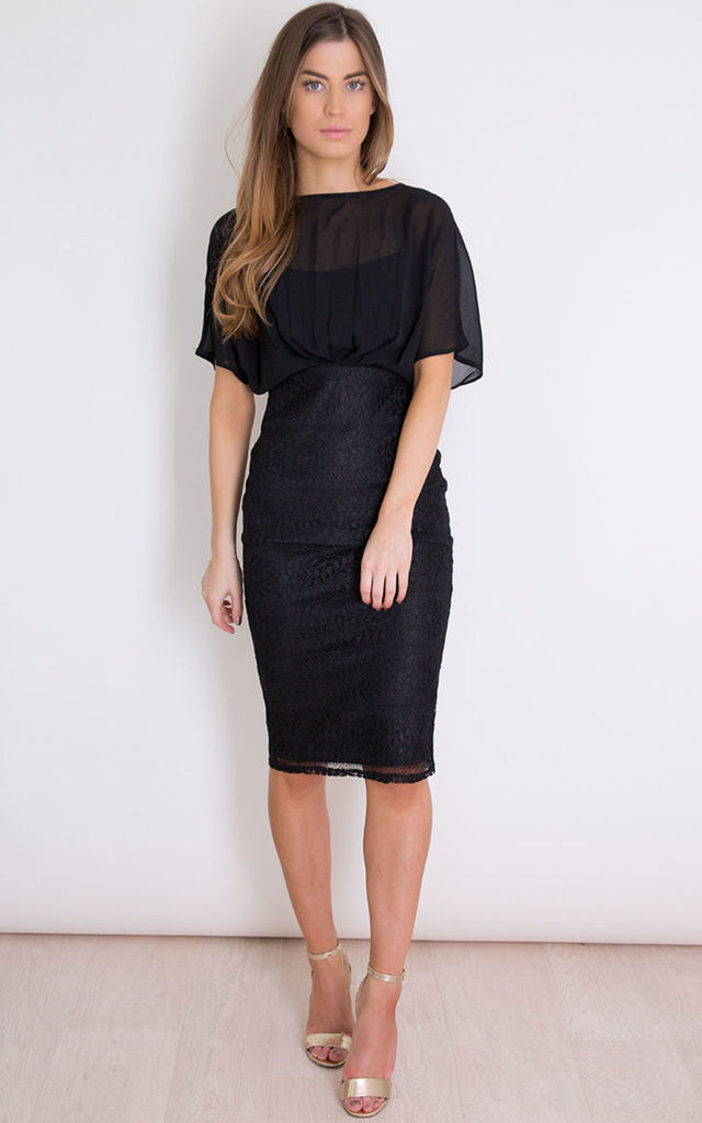 2234c4c3c850 Felicity Short Sleeve Lace Midi Dress Black by Girl In Mind