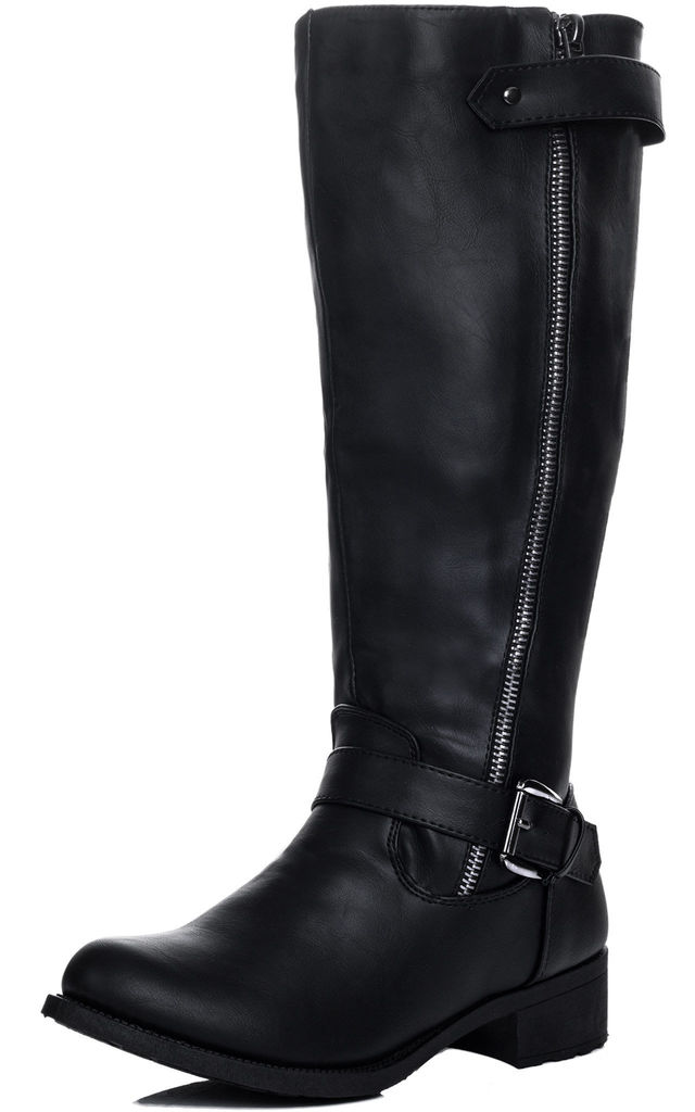 ALANNAH Adjustable Buckle Flat Knee High Tall Boots - Black Leather Style by SpyLoveBuy