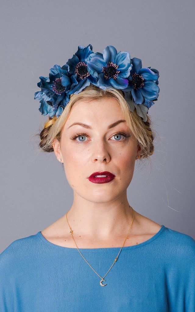 Aubrey Anemone Headband - Dusky Blue by Crown and Glory