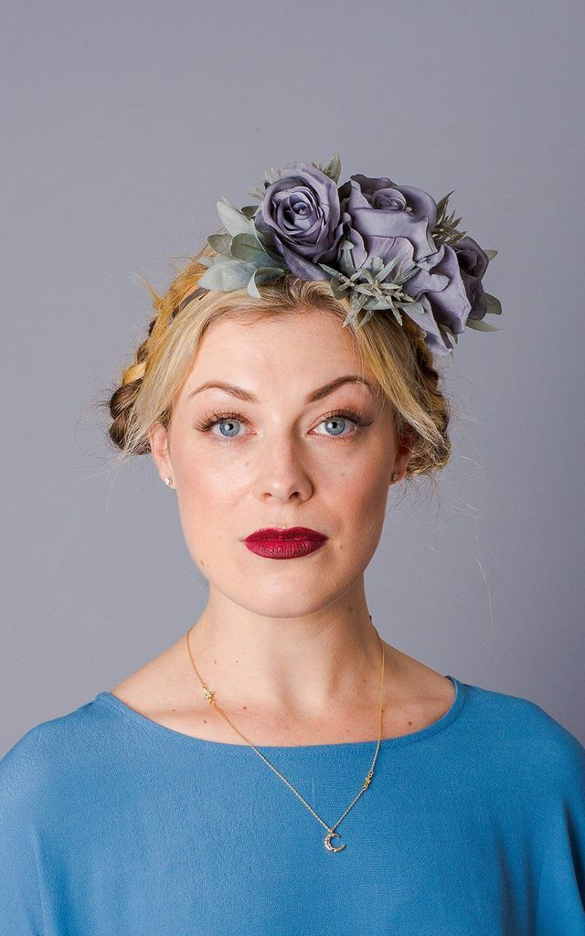 Celandine Oversized Rose Headband - Dove Grey by Crown and Glory