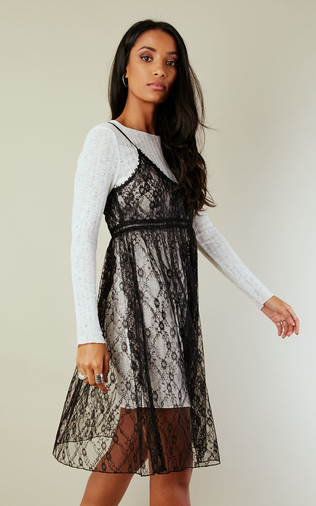 LSLV KNIT TOP W/ LACE SLIP DRESS by English Factory