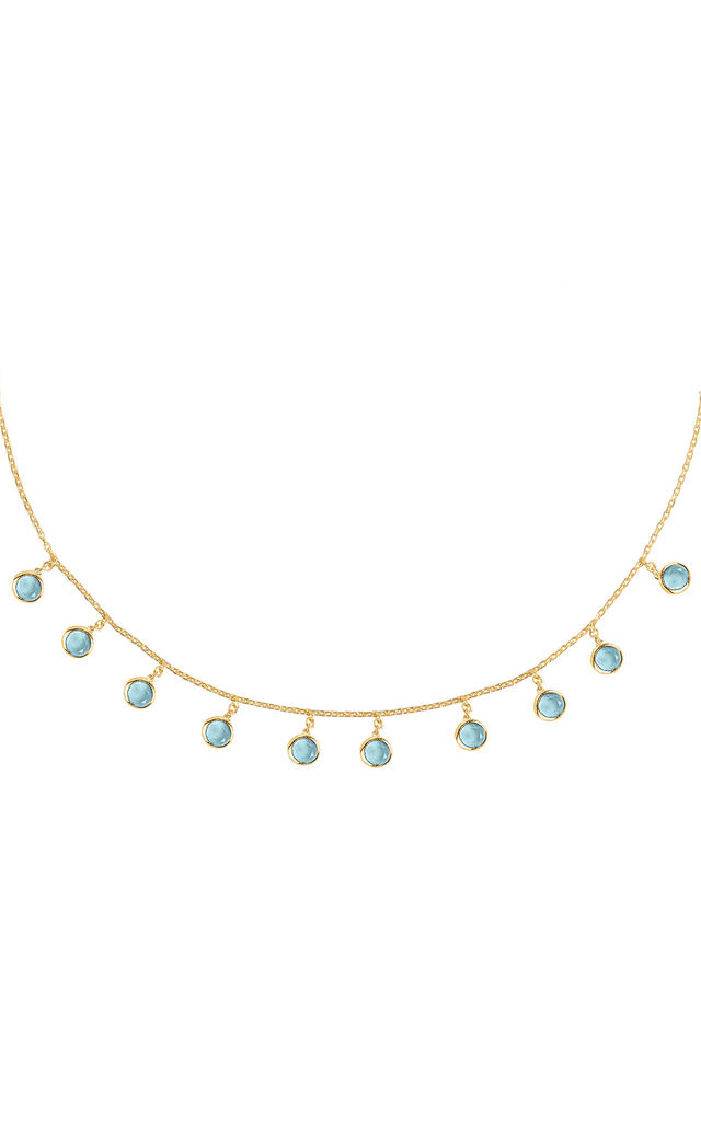Florence Round Gemstone Necklace Gold Blue Topaz by Latelita London