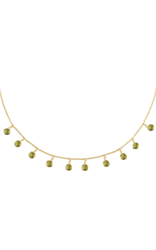 Florence Round Gemstone Necklace Gold Peridot by Latelita